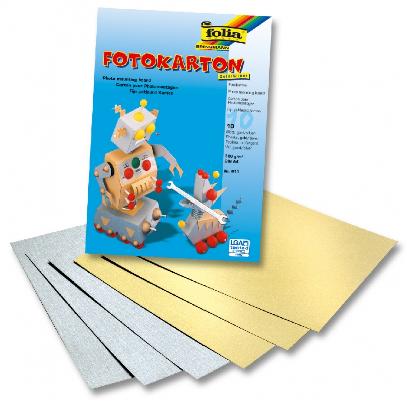 Blok s barevným papírem A4, 10 listů, 300 g, zlato / stříbro