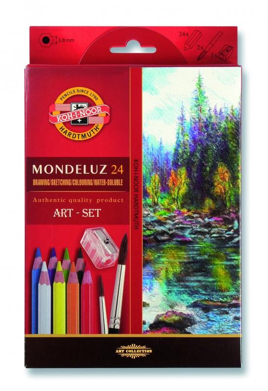 Akvarelové pastelky KOH-I-NOOR Mondeluz 3711, 24 barev + štětec