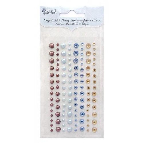Perličky a krystalky samolepicí, 120 ks - mix barev