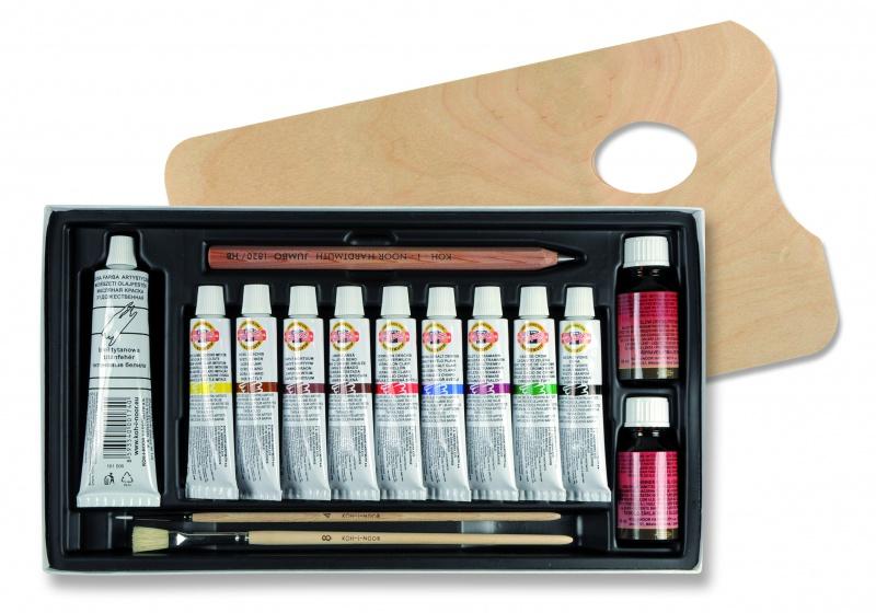 Olejové barvy 10 barev Koh-I-Nor sada s paletou