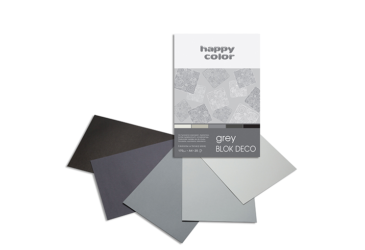 Blok barevných papírů A4, Happy Color 170g, 5 barev - šedé odstíny