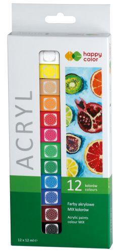 Akrylové barvy HAPPY COLOR, 12 barev x 12 ml
