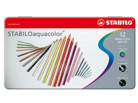 Pastelky STABILO Aquacolor 12 kusů - metal box