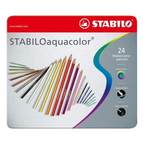 Pastelky STABILO Aquacolor 24 kusů - metal box