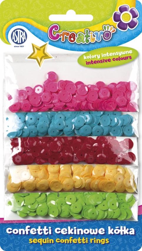 Konfety flitry na blistru - mix 5 intenzivních barev
