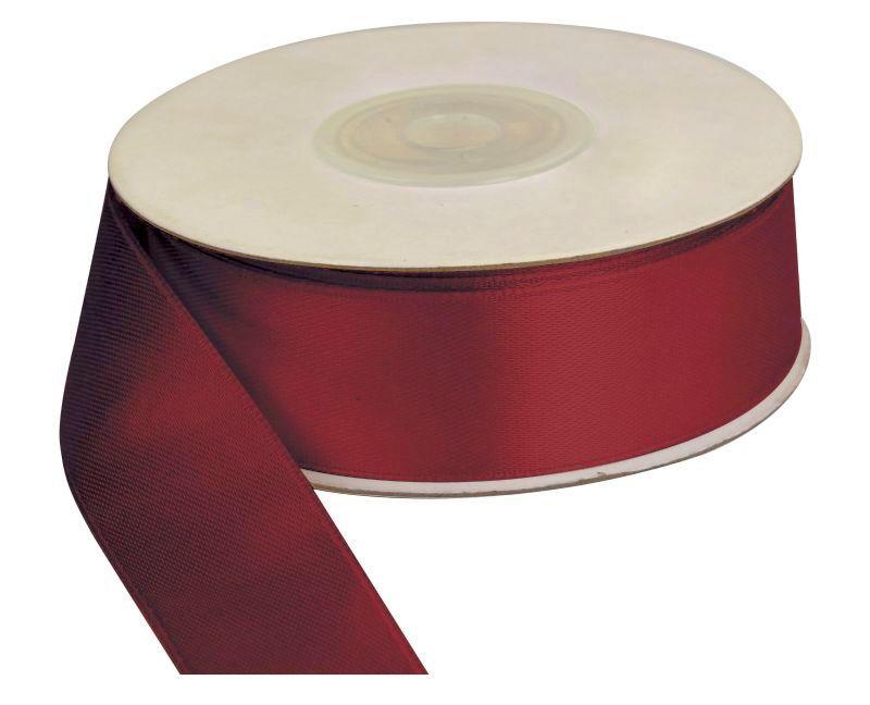 Saténová stuha 25 mm, 25 m, červeno-hnědá