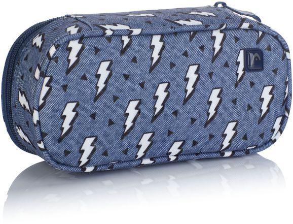 Penál na psací potřeby HD-336 Head 3, modrý s blesky