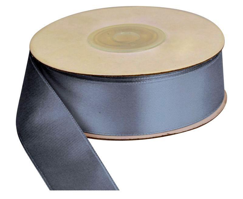 Saténová stuha 25 mm, 25 m, stříbrná