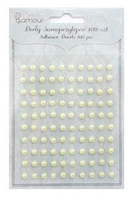 Perličky samolepicí 5 mm, 100 ks - barva citrónová