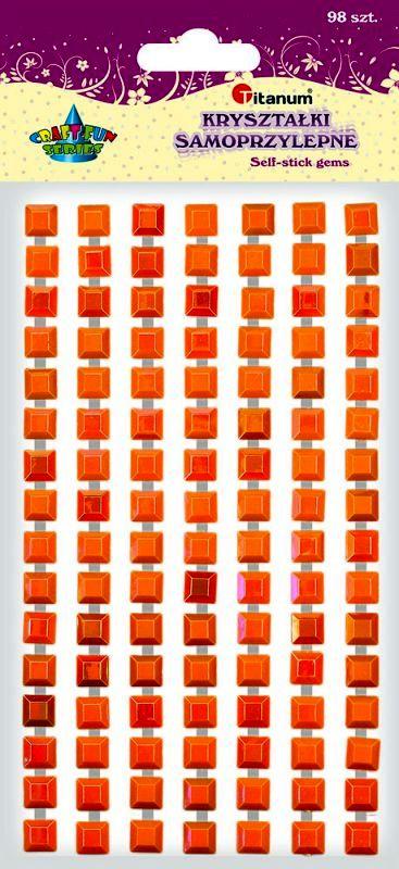 Krystalky samolepicí, 98 kusů - zlatooranžové