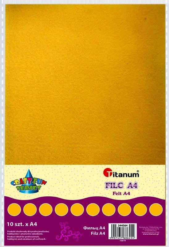 Filc žlutý A4 , síla 2 mm (200g) - balení 10 kusů