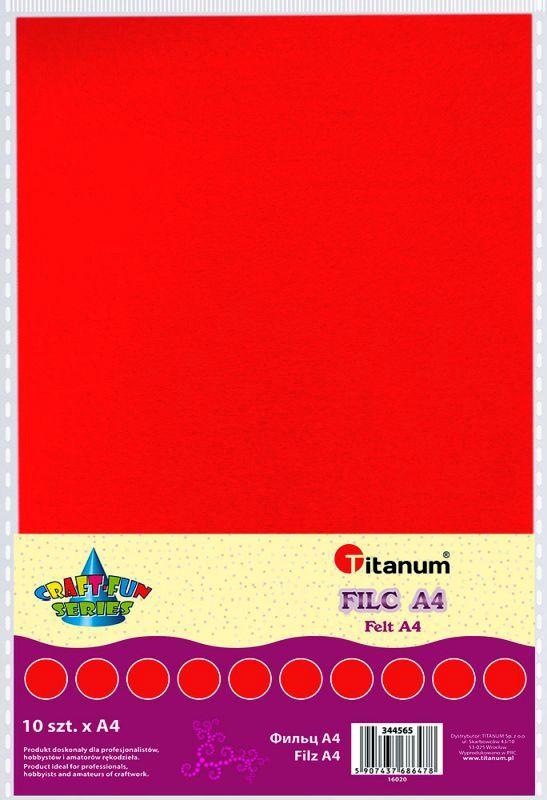 Filc červený A4 , síla 2 mm (200g) - balení 10 kusů