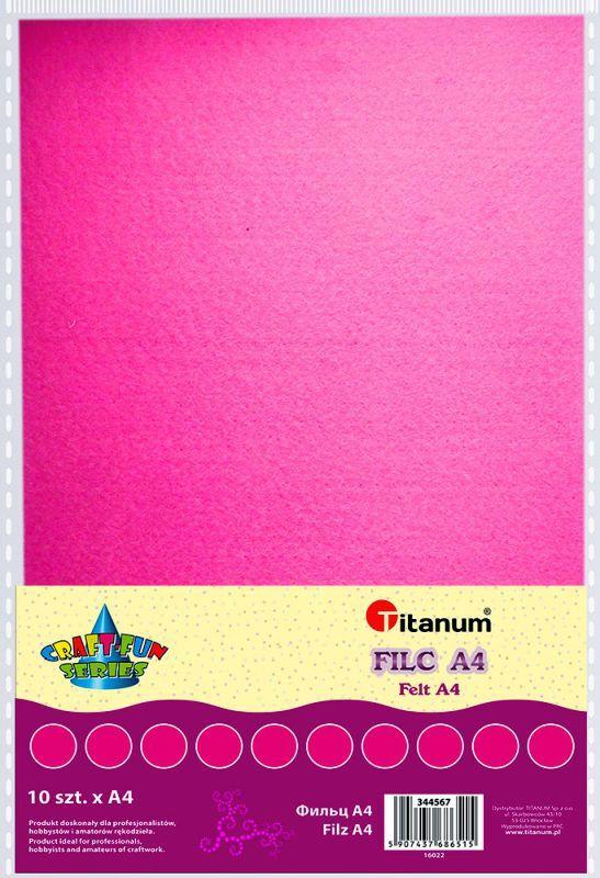 Filc růžový A4 , síla 2 mm (200g) - balení 10 kusů
