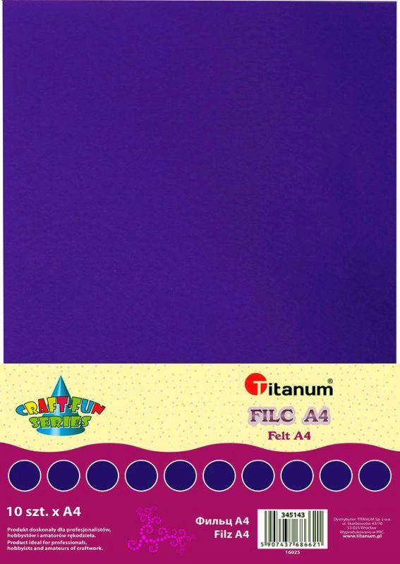 Filc fialový A4 , síla 2 mm (200g) - balení 10 kusů