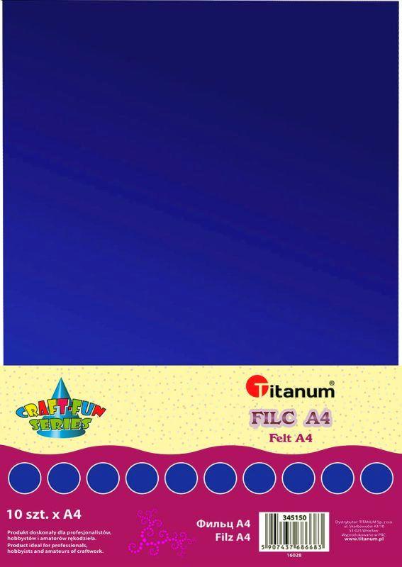 Filc tmavě modrý A4 , síla 2 mm (200g) - balení 10 kusů