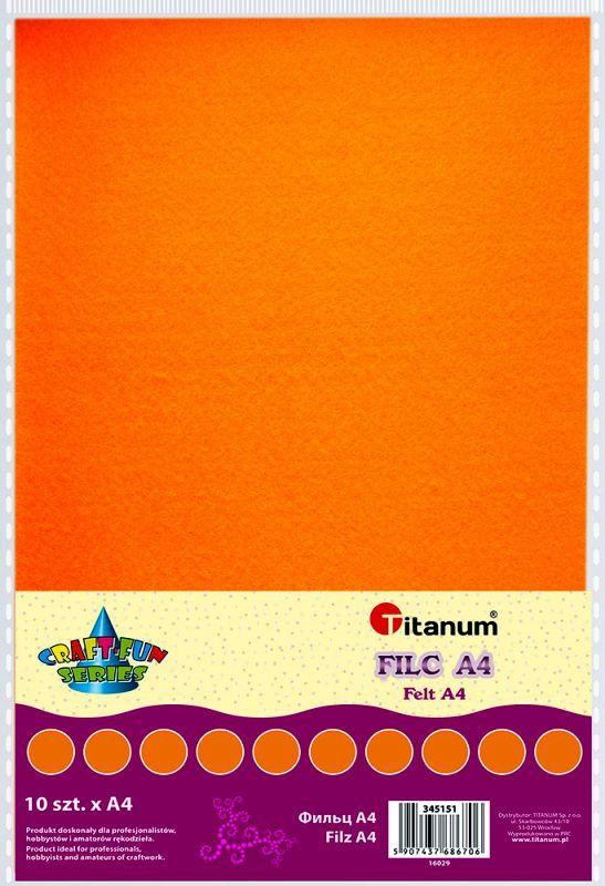 Filc oranžový A4 , síla 2 mm (200g) - balení 10 kusů