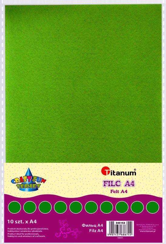 Filc zelený A4 , síla 2 mm (200g)- balení 10 kusů