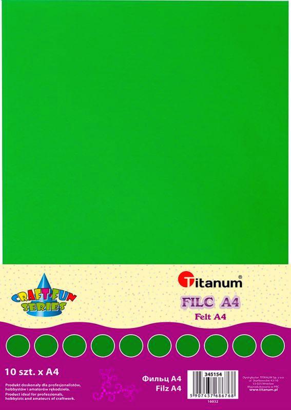 Filc tmavě zelený A4 , síla 2 mm (200g) - balení 10 kusů