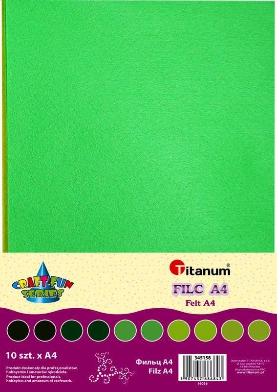 Filc zelený A4 , síla 2 mm - balení 10 kusů