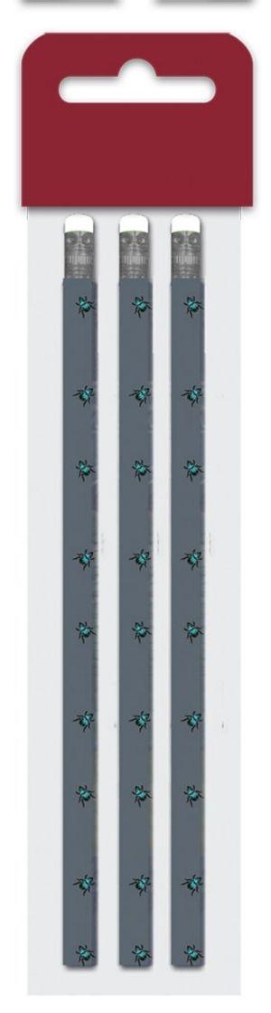 Tužka s gumou č. 2, sada 3 kusů - Fashion Basic , mouchy