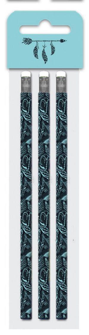Tužka s gumou č. 2, sada 3 kusů - Fashion Basic , peří