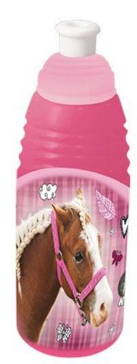 Plastová školní láhev na pití BENIAMIN růžová - Kůň