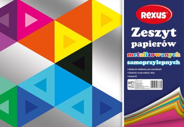 Samolepicí papíry A4, Rexus - metal, 8 kusů barev