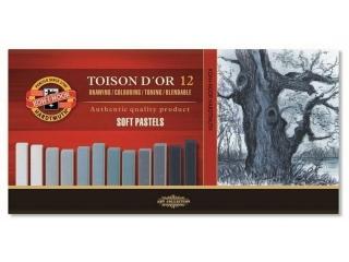 Pastele suche w sztyfcie KOH-I-NOOR Toison D`or 12szt. szare