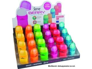 Gumka + temperówka SERVE Berry 2 otw. x24 DISPLAY kolor MIX