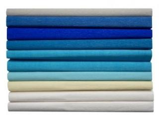 Bibu³a marszczona 25x200cm, MIX niebieski, 10 rolek, 8 kol,