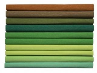 Bibu³a marszczona 25x200cm, MIX zielony, 10 rolek, 8 kol, Ha