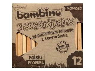 Kredki BAMBINO w oprawie drewnianej 12 kolorów naturalne +temperówka