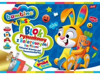 Blok rysunkowy z kolorowymi kartkami A3, 16k BAMBINO PLUS