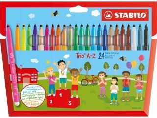 Flamastry trójk±tne STABILO Trio A-Z 24 kolory pude³ko