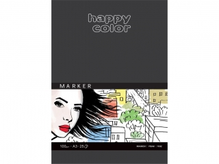 Blok do markerów, ART, 100g, A5, 25 ark, Happy Color