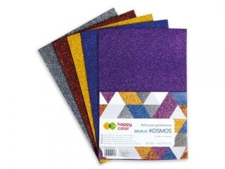 Arkusze piankowe KOSMOS Brokat, A4, 5 ark., 5 kolorów, Happy