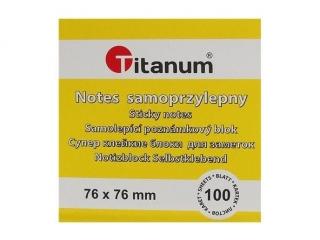 Notes samoprzylepny TITANUM ¿ó³ty 100k 76x76 mm (S-2003)