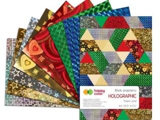 Blok dekoracyjny HAPPY COLOR Holographic A4 10ark, 70g, 5 ko