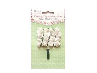 Kwiaty papierowe DPCRAFT 2cm 16szt. ró¿e - pure white