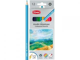 Kredki o³ówkowe TOMA heksagonalne 12 kolorów