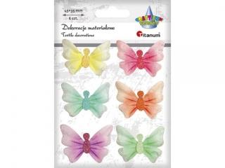 Ozdoba materia³owa TITANUM Motyle pastel 6szt. 45x35mm