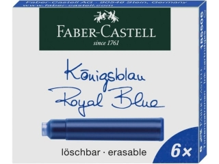 Naboje atramentowe FABER-CASTELL krótkie niebieskie 6szt.