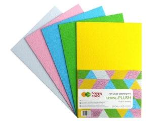 Arkusze piankowe SPRING PLUSH , A4, 5 ark, 5 kolorów,  Happy