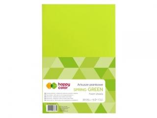 Arkusze piankowe A4, 5 ark, zielony wiosenny, Happy Color
