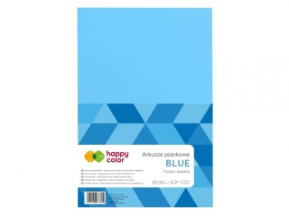 Arkusze piankowe A4, 5 ark, niebieski, Happy Color