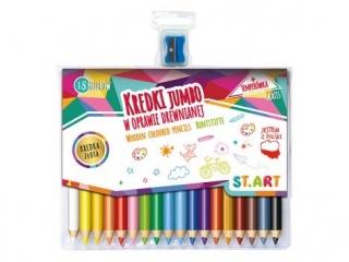 Kredki Jumbo ST.ART w oprawie drewnianej 18 kolorów + temper