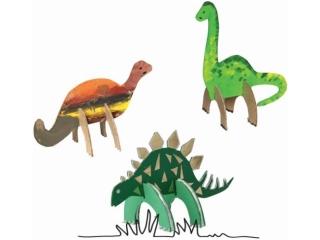 Zestaw kszta³tów tekturowych 3D, DINO, 6 szt, 15, 12 cm, Happy Color