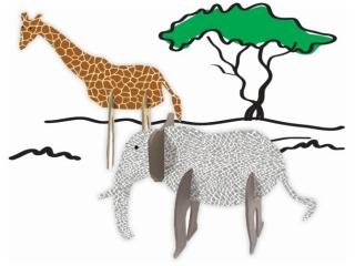 Zestaw kszta³tów tekturowych 3D, AFRICA, 5 szt, 15,12 cm, Happy Color