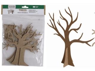 Zestaw kszta³tów tekturowych 3D, TREES, 3 szt, 20,18 cm, Happy Color