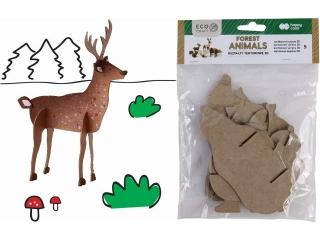 Zestaw kszta³tów tekturowych 3D, FOREST ANIMALS, 5 szt, 9-20cm, Happy Color